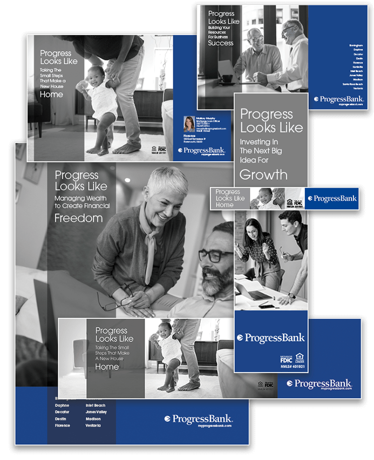 Progress Bank Print Digital Ads